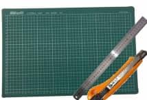 Base de Goma Para Corte 45 x 30 + Regla + Cutter - Mercería - Cutter y Base para Tela