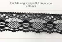 Puntilla Nylon negra 3,3 cm ancho (20) - Puntillas y Broderie - Puntillas de Nylon