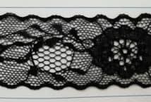 Puntilla Nylon 40 mm Negra Precio x metro (Pieza 20 Mts) - Puntillas y Broderie - Puntillas de Nylon