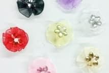 Flor de Tul y Strass x10 Unidades - Mercería - Flores - Hojas - Pistilos