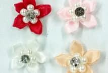 Flor con Perla y Strass x5 Unidades - Mercería - Flores - Hojas - Pistilos